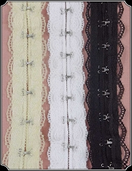 Trim ~ Cotton Herringbone Hook and Eye Tape With Lace Trim