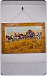 Print on Canvas of Oscar Edmund Berninghaus - A Fight For The Overland Mail
