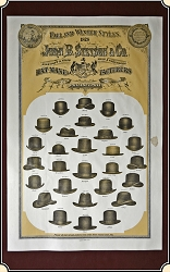 z Sold 1878's Stetson  Fall and Winter Hat Styles - Promotional Advertising Poster