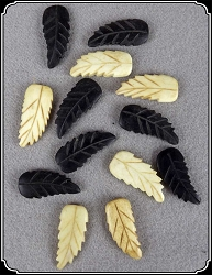 Beads - Carved Bone Leaves