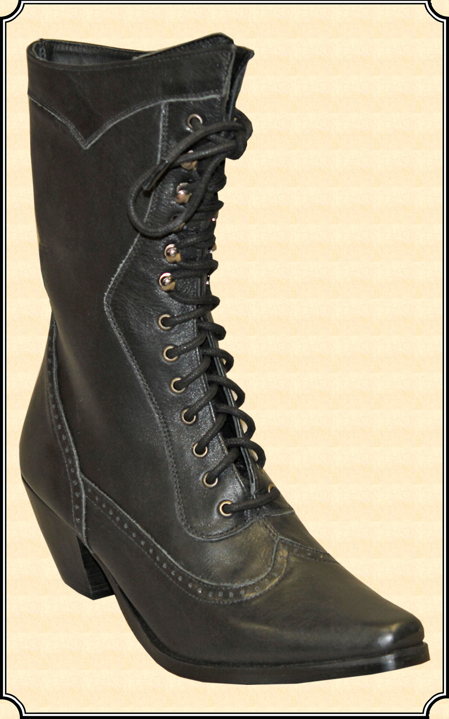 Victorian Style Black Ladies Lace Up Boots
