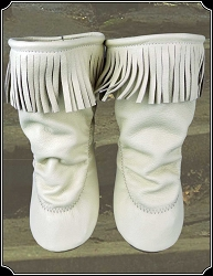 Cream Fringe Teepee Boots for Ladies with Rubber Soles