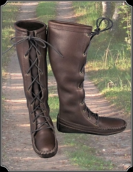 Cowhide Knee High Ladies Boots in Dk Brown