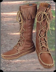 Ladies Fringed Knee High Boots Saddle