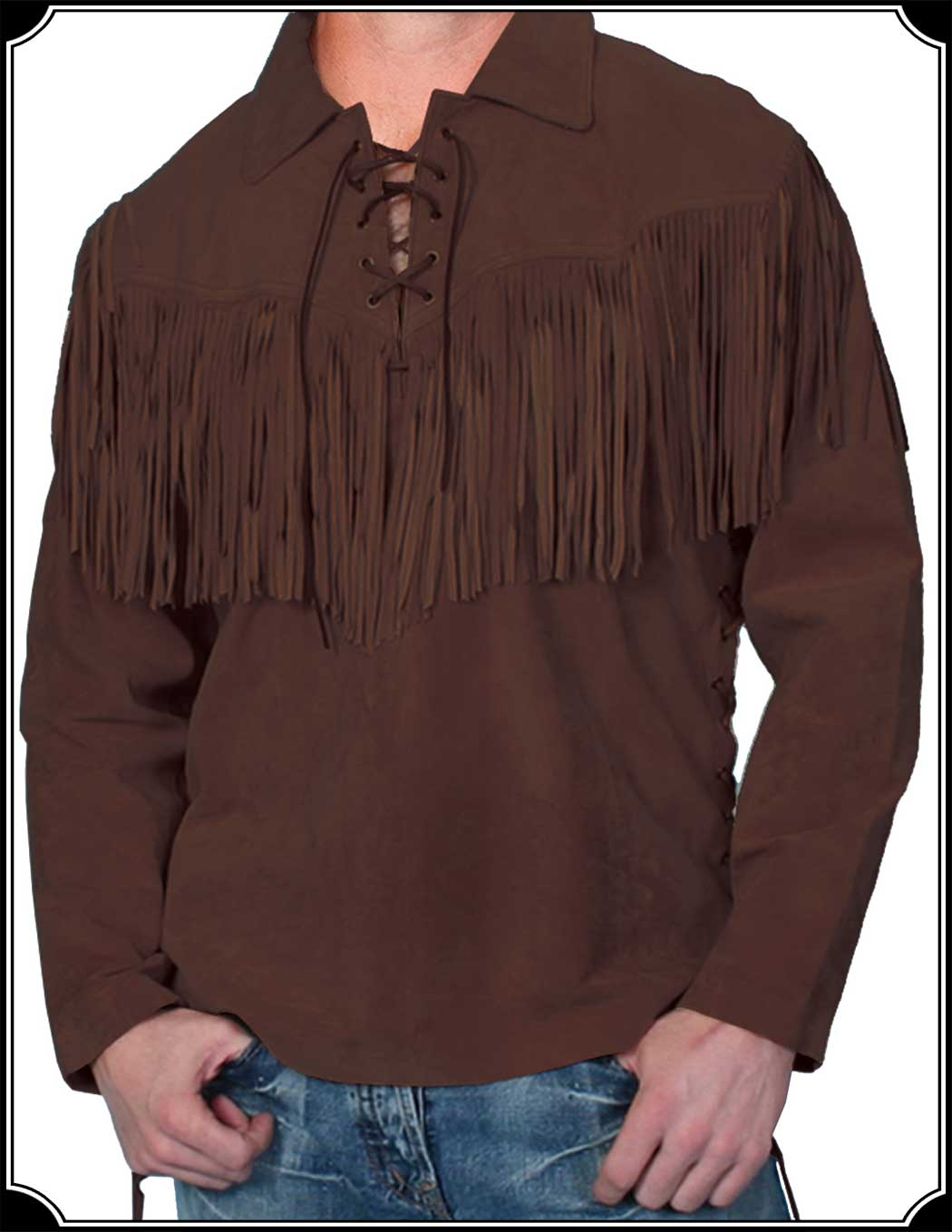 Men 39 s cowboy leather shirt with fringe for Mens shirt with tassels