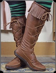 Ladies Fringed Knee High Special Order Boots in Saddle