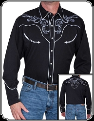 Shirt - Scully Embroidered Roses and Barbwire with Long Horn Skull