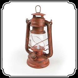 Lamp  - Rustic Old Red (LED) Lantern