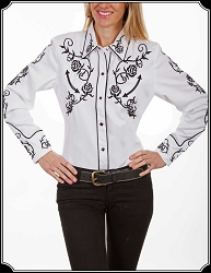 Rodeo Shirt Embroidered Roses Black and White By Scully