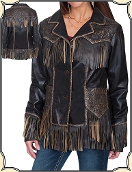 Fringed Leather Jacket with Tooling From Scully