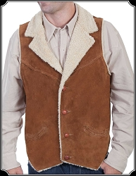 Suede Vest with Faux Shearling Lining Scully