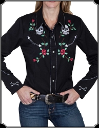 Roses and Skulls Ladies Rodeo Shirt ~ Scully