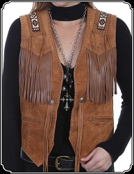 Old West Style Ladies Fringed Suede Vest