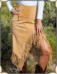 Ladies Fringed Skirt of Boar Suede ~ Scully