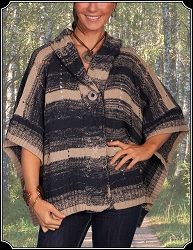 Poncho Style Sweater with Hood From Scully