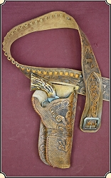 Hand tooled single loop right side holster