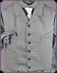 Black and White Herringbone Worsted Wool Notch Lapel Vest Heirloom Brand