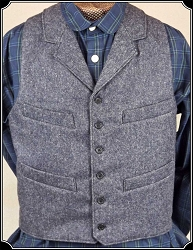 Blue Herringbone Worsted Wool Old West Vest Size 40 Heirloom Brand