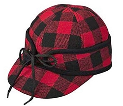 Men's Hat - Stormy Weather Red Buffalo Plaid Railroad Cap