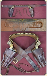 Rare Herman H. Heiser Double gun holster rig for a pair of 5 1/2