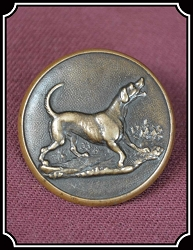 z Sold Antique Victorian Brass Hunting Sports Button: by