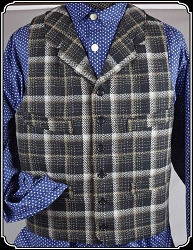 Brown and Black Plaid Worsted Wool Cowboy Vest