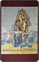 Z-Sold - 1940's Stetson  The Last Drop  Cowboy Hat - Promotional Advertising Poster