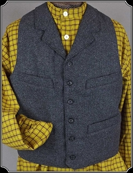 Vest - Dark Grey Herringbone Worsted Wool Vest By Heirloom Brand