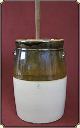 Two Tone Salt Glazed Stoneware Pottery Butter Churn