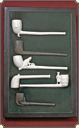6 Figural Fancy Clay pipes.