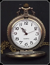 Jewelry ~ Ladies Watch Necklace in Antiqued Gold Tone