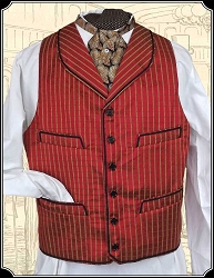 Vest - All Silk Round Lapel Cranberry Red Vest Heirloom Brand