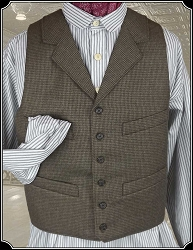 Vest - Heirloom Brown Houndstooth Notch Lapel Size 42