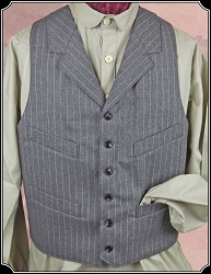 Vest - Grey Stripe Brushed Cotton Notch Lapel