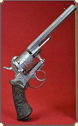 z Sold Factory Engraved Double Action Pinfire Revolver by A. Francotte