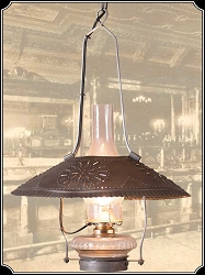 Lamp - Hanging Tin Shaded Saloon Lamp - Electric