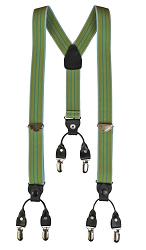 Old Time Police Brace  Green Stripe Y Back Suspenders with clips