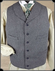 Grey Round Lapel Old West Vest Worsted Wool