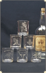 6 Historic Saloon Whiskey Shot Glasses