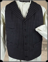 Vest - Black Check Cotton size 44