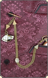 LOOK, Killer Antique Watch Chain Mother of Pearl Fob