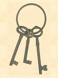 Iron Jailer's Keys - Antique Finish - 3 Keys on a Ring