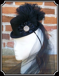 z-Sold Ladies Hat - Petite Black on Black Victorian Top Hat