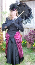 Skirt -1880s Fancy Five-gored Victorian Skirt inTaffeta - Heirloom Brand