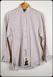 Wah Maker Stripe Shirt with Tux Collar Tan and Wine Stripe