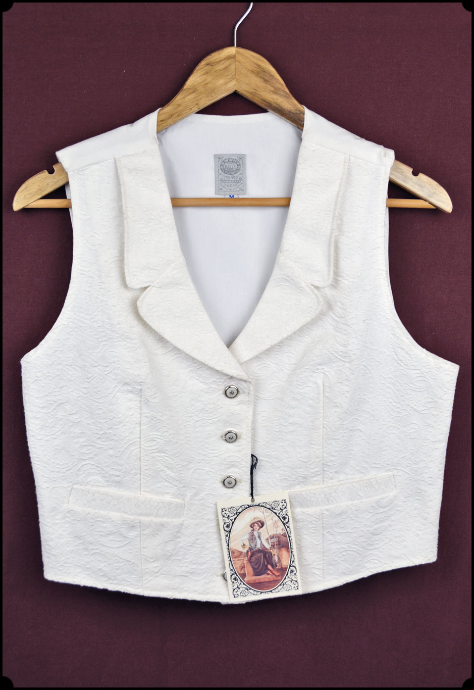 white brocade ladies vest from wah maker