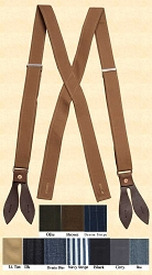 Suspenders - Adjustable X-Back Canvas Suspenders
