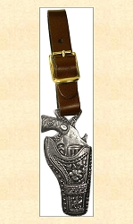 Watch - Pistol and Holster Watch Fob with Leather Strap - Silver