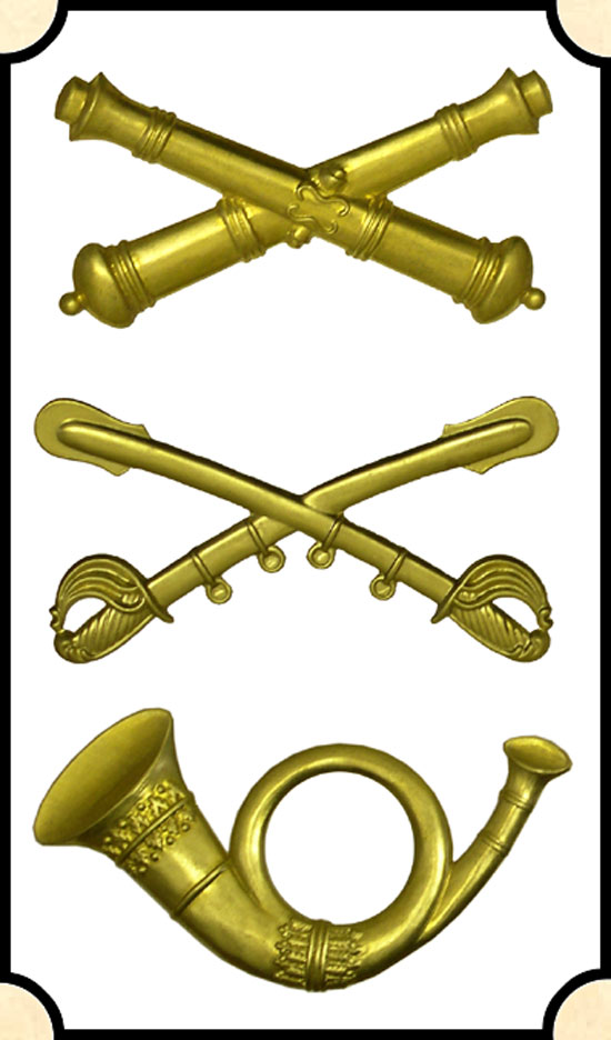 Civil War Cap Insignia Crossed Sabers (Cavalry) Crossed Cannons (artillery)  Bugle (Infantry)
