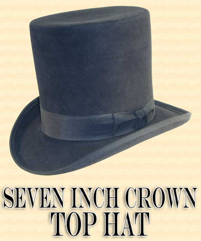 9e34d83f26fcd9 Men's Hat - 7 SEVEN INCH BELL CROWN 10X Felt Top Hat